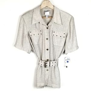 Vintage Joseph Ribkoff Belted Button-Down Blouse